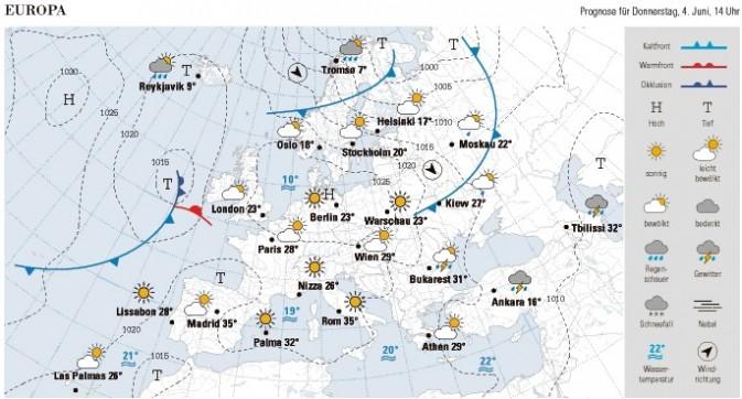 Wetterkarte NZZ v. 4.6.15