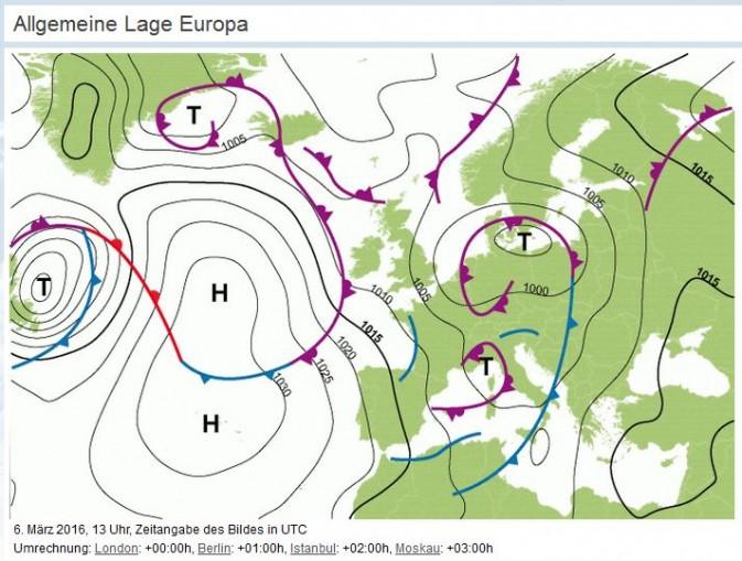 Allgemeine-Wetterlage-Europa, 6. März 2016
