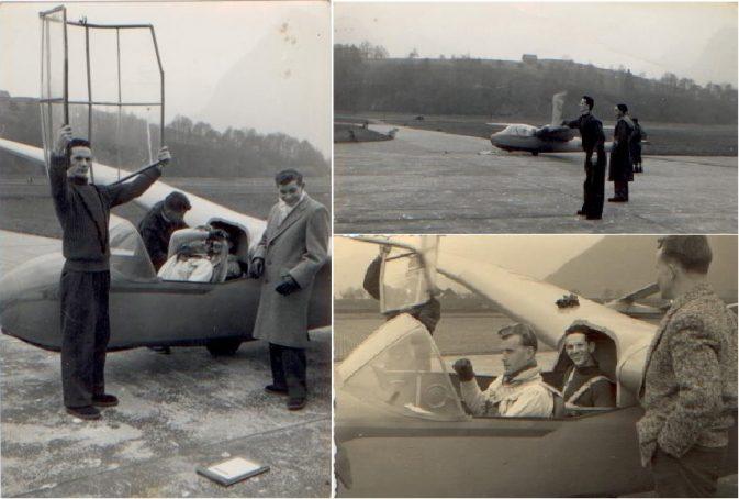"""Flugbetrieb, links: Capot aufsetzen, rechts oben: Signal mittels Flage zur Winde: """"Seil straff, anziehen und starten!"""""""