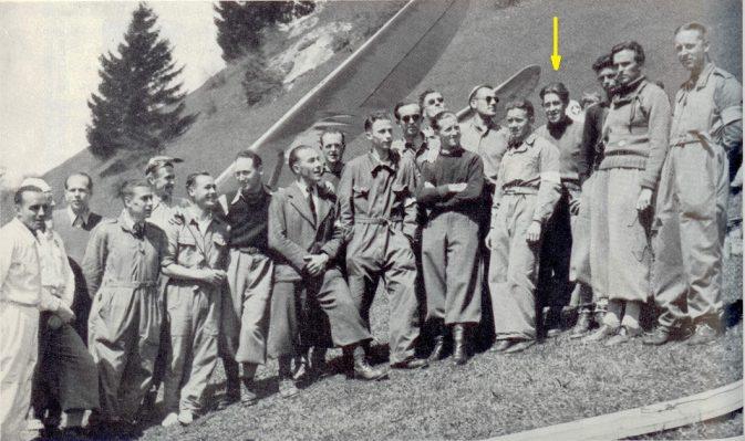 """""""Sägi"""" am Hochalpinen Segelfluglager-in-Flims-vom-30.-Mai-bis-2.-Juni-1941(Pfeil)"""