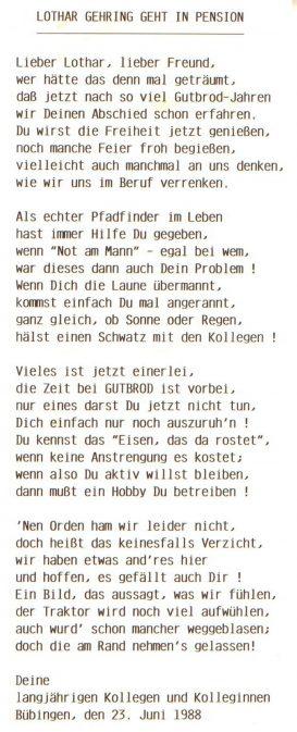 """Zur Pensionierung erwiesen die Dienstkollegen von """"Gutbrod"""", Referenz für Lothar."""