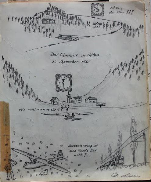 Aussenlandung, Selbstkritik; Zeichnung Edi Lischer im Gruppenbuch der SGN