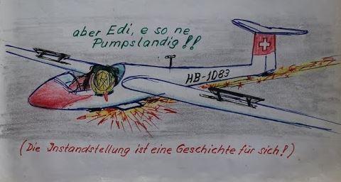 Edis Pumms Landung mit der LS1, Zeichnung: Gruppenbuch der SGN