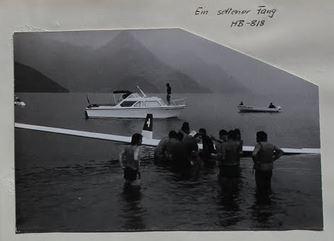 Ka 8, HB-818, Wasserung 12. August 1972, Pilot: Franz Egli, Bild: Gruppenbuch SGN