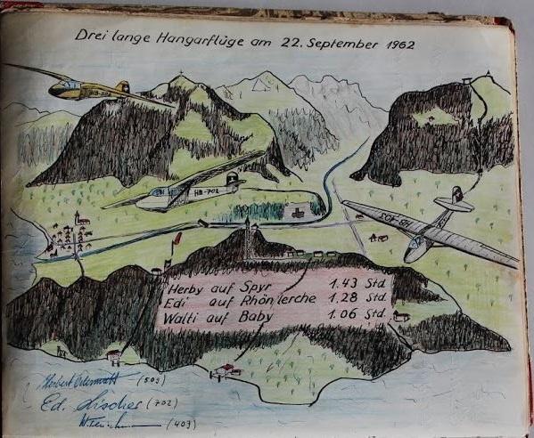 Nachtflug, Zeichnung Edi Lischer im Gruppenbuch der SGN
