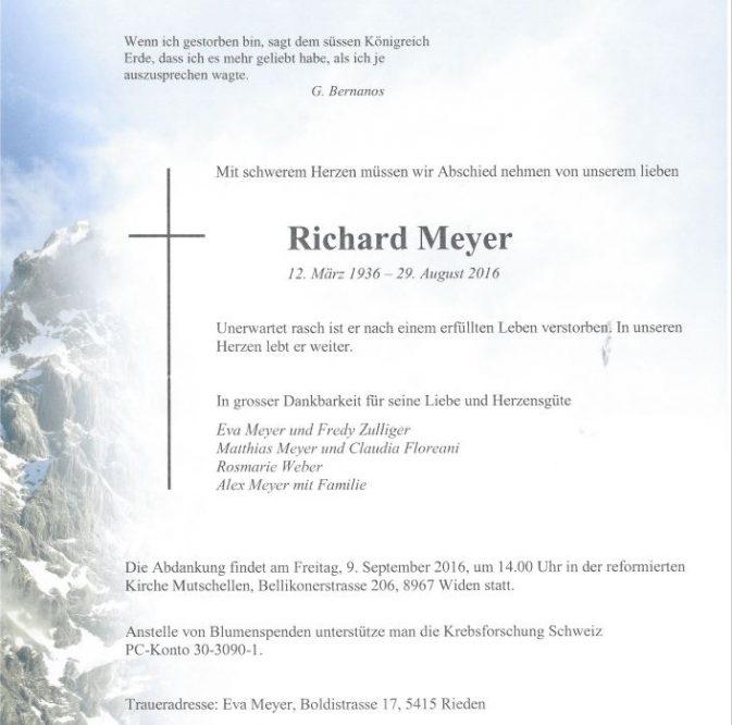 Richi Meyer Todesanzeige